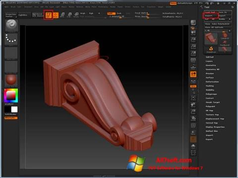 Screenshot ZBrush per Windows 7