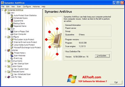 Screenshot Symantec Antivirus per Windows 7