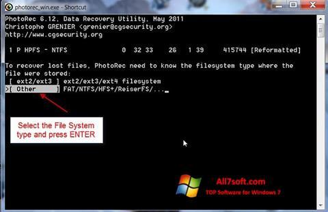 Screenshot PhotoRec per Windows 7