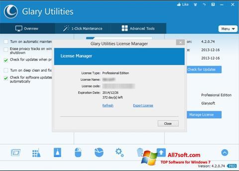 Screenshot Glary Utilities per Windows 7