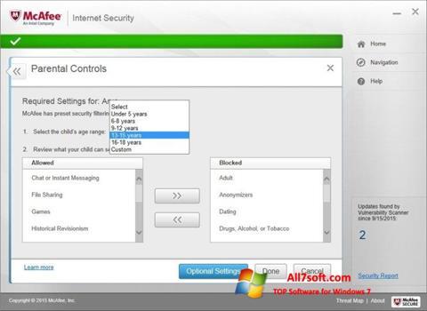 Screenshot McAfee per Windows 7