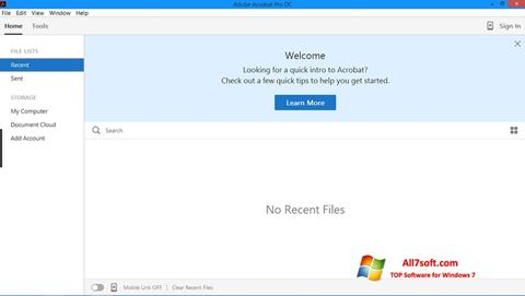 Screenshot Adobe Acrobat Pro per Windows 7