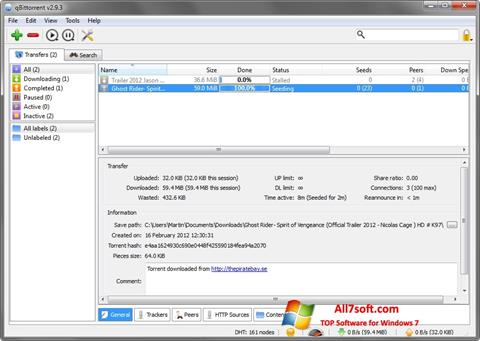 Screenshot qBittorrent per Windows 7
