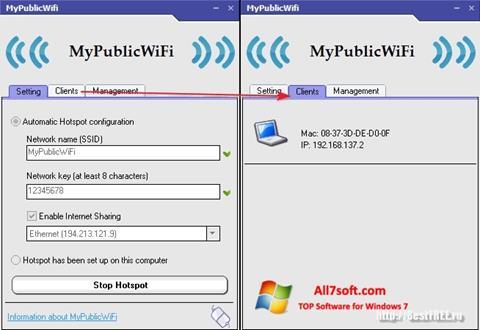 Screenshot MyPublicWiFi per Windows 7