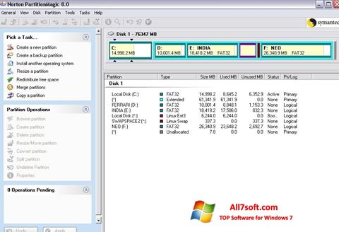 Screenshot Norton Partition Magic per Windows 7
