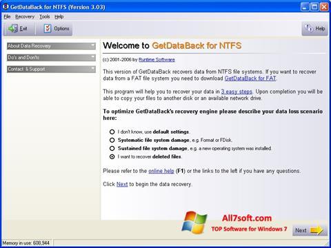 Screenshot GetDataBack per Windows 7