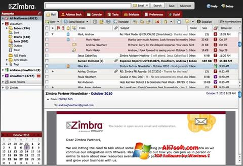 Screenshot Zimbra Desktop per Windows 7