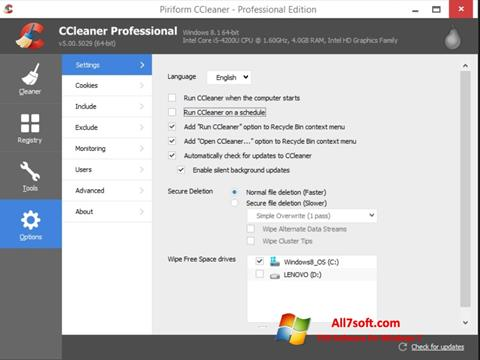 Screenshot CCleaner per Windows 7