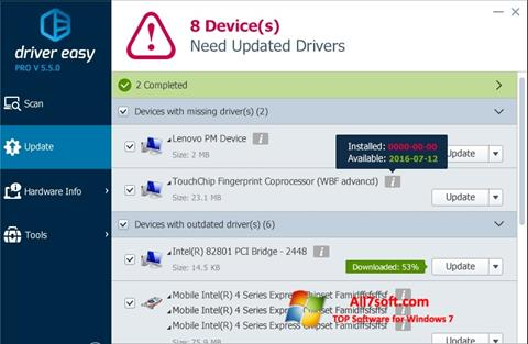 Screenshot Driver Easy per Windows 7