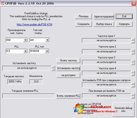 Screenshot CPUFSB per Windows 7