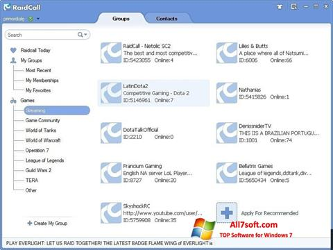 Screenshot RaidCall per Windows 7