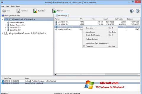 Screenshot Active Partition Recovery per Windows 7