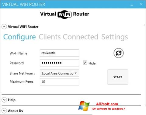 Screenshot Virtual WiFi Router per Windows 7