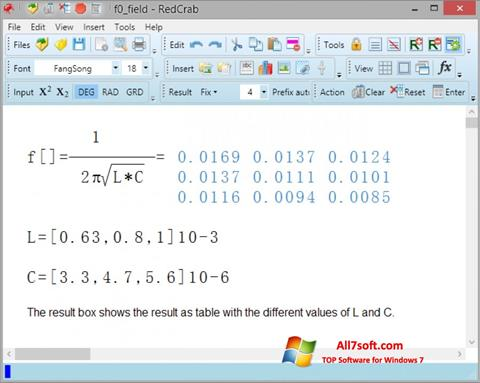 Screenshot RedCrab Calculator per Windows 7