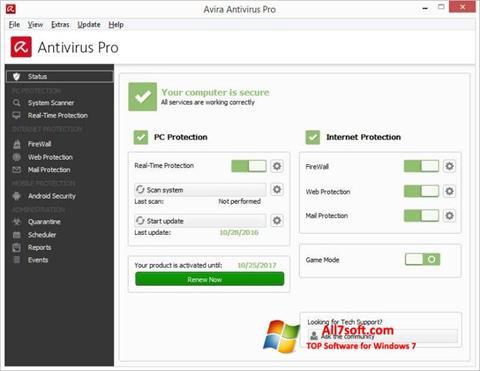 Screenshot Avira Antivirus per Windows 7