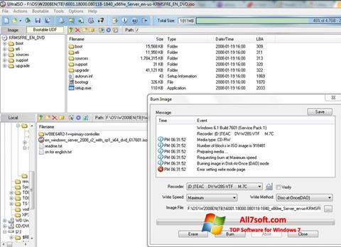 Screenshot UltraISO per Windows 7