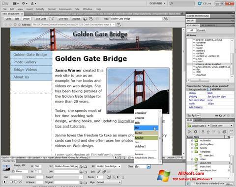 Screenshot Adobe Dreamweaver per Windows 7