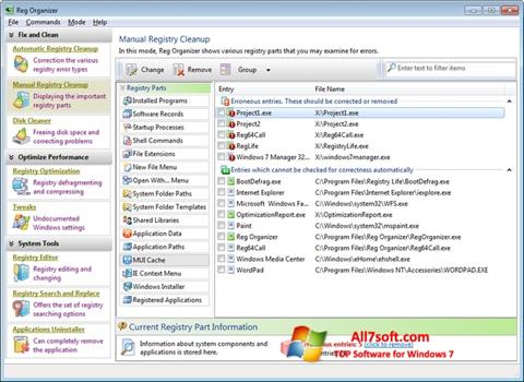 Screenshot Reg Organizer per Windows 7
