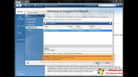 Screenshot Seagate DiscWizard per Windows 7