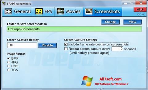 Screenshot Fraps per Windows 7