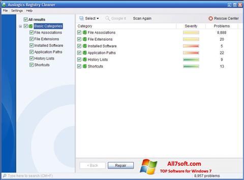 Screenshot Auslogics Registry Cleaner per Windows 7