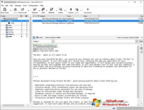 Screenshot Claws Mail per Windows 7