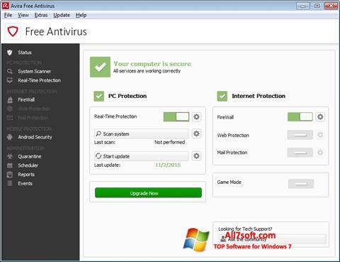 Screenshot Avira Free Antivirus per Windows 7
