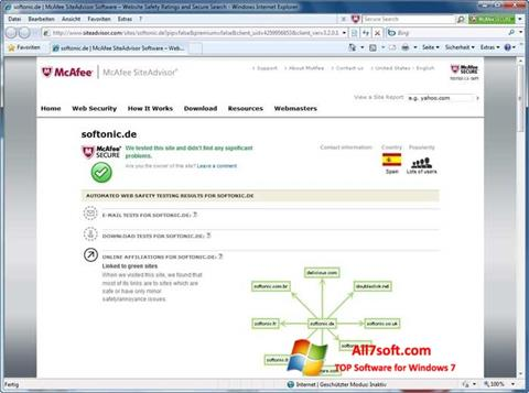 Screenshot McAfee SiteAdvisor per Windows 7