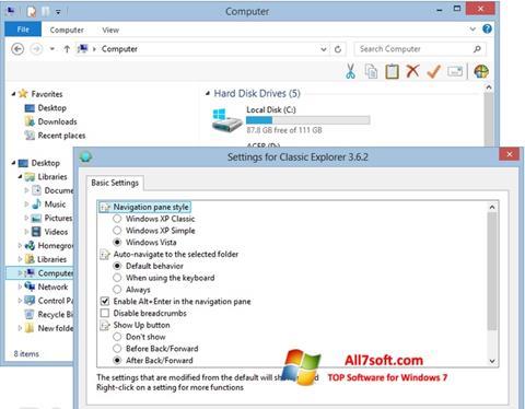 Screenshot Classic Shell per Windows 7