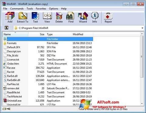 Screenshot WinRAR per Windows 7
