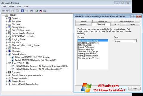 Screenshot REALTEK RTL8139 per Windows 7