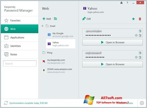 Screenshot Kaspersky Password Manager per Windows 7