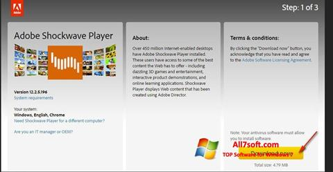 Screenshot Adobe Shockwave Player per Windows 7