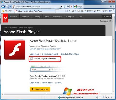 Screenshot Adobe Flash Player per Windows 7