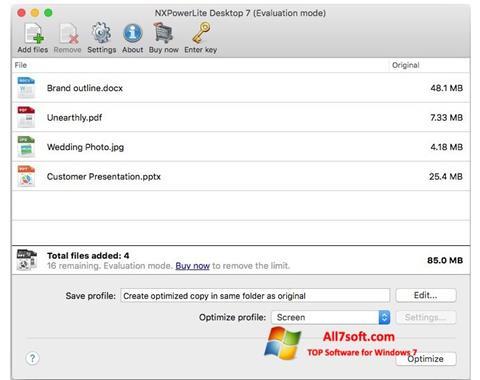 Screenshot NXPowerLite per Windows 7