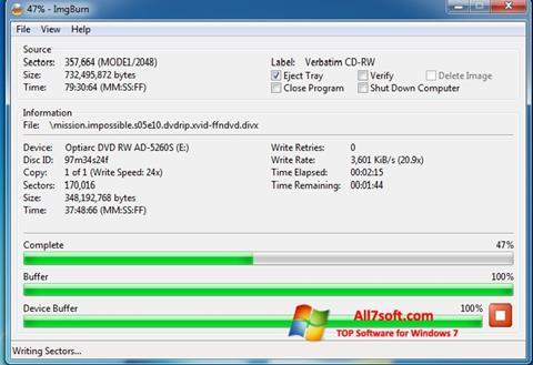 Screenshot ImgBurn per Windows 7