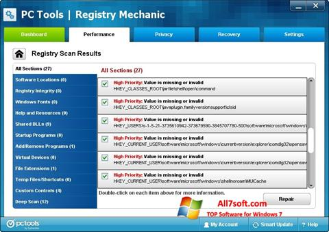 Screenshot Registry Mechanic per Windows 7