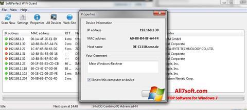 Screenshot SoftPerfect WiFi Guard per Windows 7