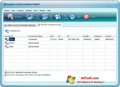 Screenshot Anyplace Control per Windows 7