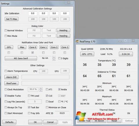 Screenshot Real Temp per Windows 7