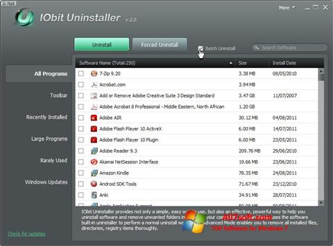 Screenshot IObit Uninstaller per Windows 7