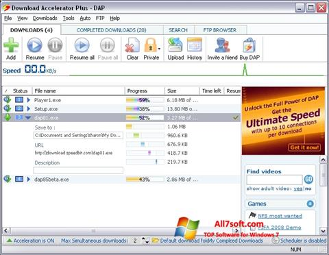 Screenshot Download Accelerator Plus per Windows 7