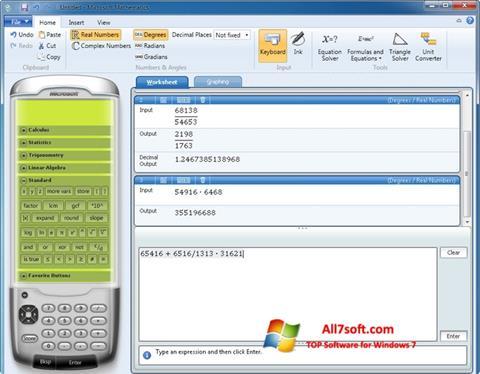 Screenshot Microsoft Mathematics per Windows 7