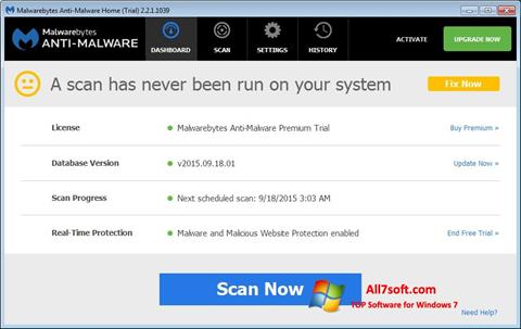 Screenshot Malwarebytes Anti-Malware Free per Windows 7