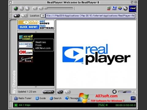 Screenshot RealPlayer per Windows 7