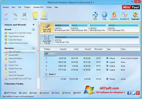 Screenshot MiniTool Partition Wizard per Windows 7