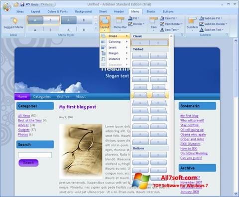 Screenshot Artisteer per Windows 7