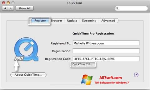 Screenshot QuickTime Pro per Windows 7