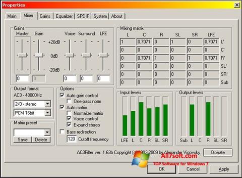 Screenshot AC3 Codec per Windows 7