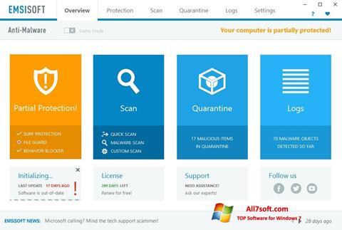 Screenshot Emsisoft Anti-Malware per Windows 7